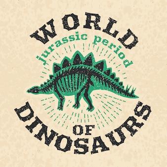 Weinleseplakat von fossilen knochen des dinosauriers.