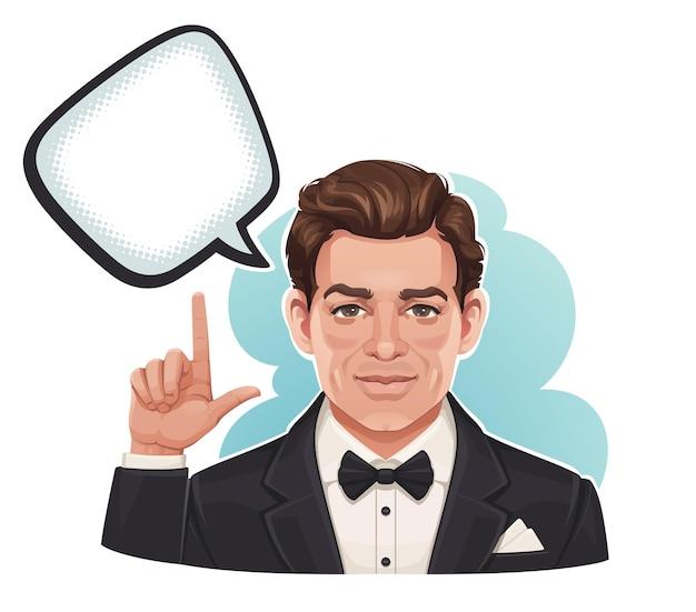 Weinleseporträt eines mannes, der auf sprachblase zeigt