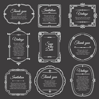 Weinleserahmen auf tafel romantische schöne elegante rahmen auf tafel