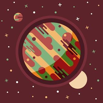 Weinleseraum und astronautenhintergrund.