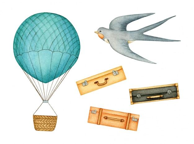 Weinlesereisendes set mit heißluftballon, gepäck und schwalbe. aquarellillustrationen für umschläge, dekoration, aufkleber