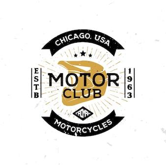 Weinleseschablone des emblems des motorclubs mit helm in der mitte.