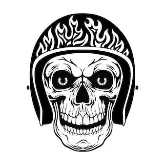 Weinleseschädel im helm mit flammenvektorillustration. schwarzer toter kopf des bikers