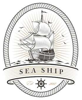 Weinleseschiff des weinschiffs auf weißem hintergrund.