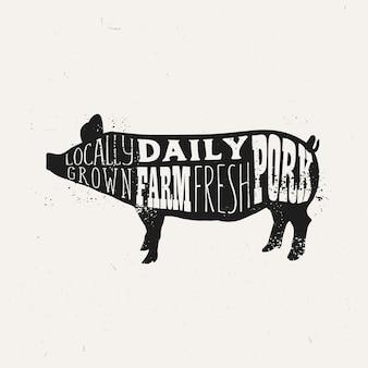 Weinleseschweinefleisch-typografieentwurf, plakatschablone des bauernhofes frische schweinefleisch.