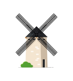 Weinlesesteinwindmühle lokalisiert auf weißer ikone