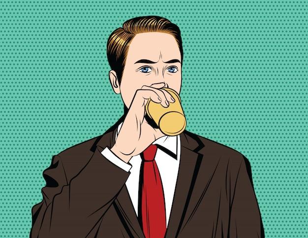 Weinlesestilplakat eines mannes im anzug mit tasse kaffee in seiner hand