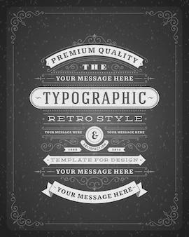 Weinleseverzierungen wirbelt und rollt dekorationen mit typografischem