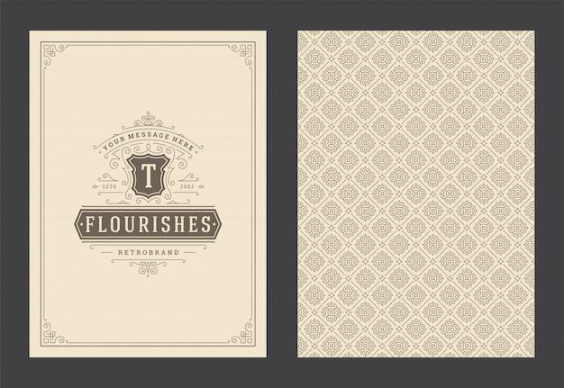 Weinleseverzierungsgrußkarten-kalligraphische verzierte wirbel und vignettenrahmen-designvektor