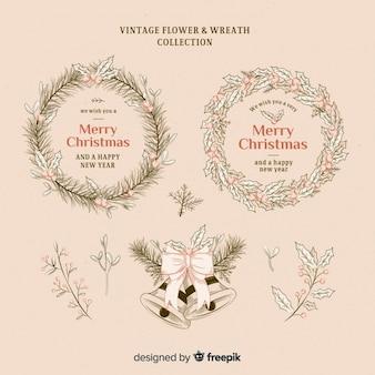 Weinleseweihnachtsblumen und Kranzsammlung