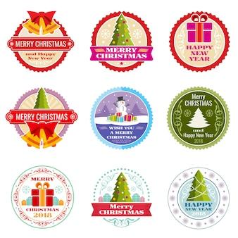 Weinleseweihnachtsgeschenk-vektoraufkleber, -fahnen und -tags mit typografischen elementen