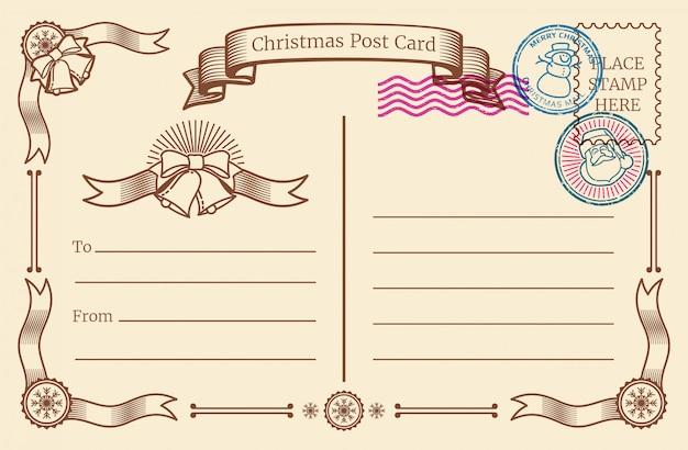 Weinleseweihnachtsleere postkarte mit dem textraum und weihnachten post