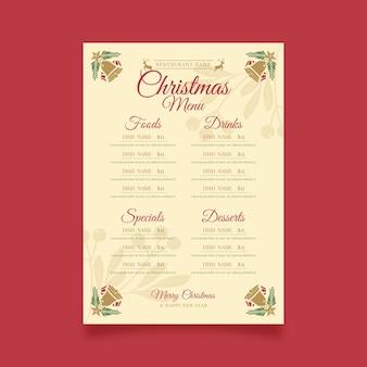Weinleseweihnachtsmenüschablone
