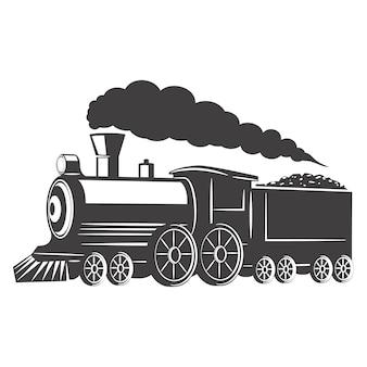 Weinlesezug auf weißem hintergrund. element für logo, etikett, emblem, zeichen. illustration