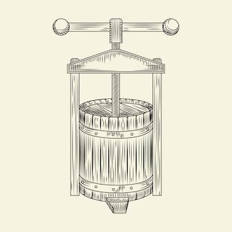 Weinpresse aus holz. traubenpressenskizze. apfelwein, der vintage gravierte art macht.
