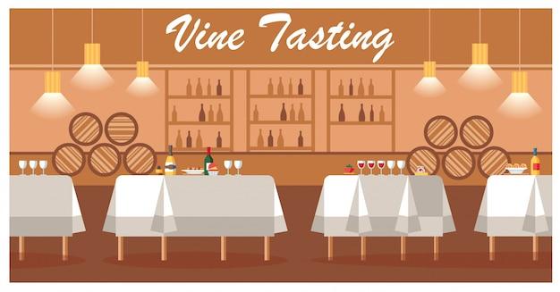 Weinprobe in der luxusweinkellerei-flachen vektor-fahne