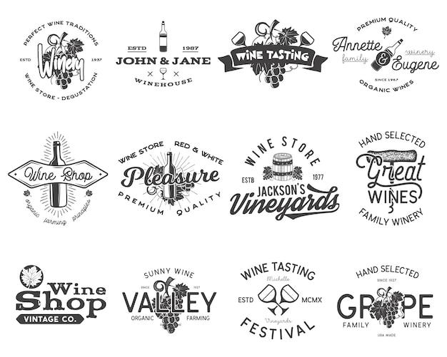 Weinschwarze logos, etiketten eingestellt. weinkellerei, weinhandlung, sammlung von weinbergabzeichen. retro-getränksymbol. typografische design-vektor-illustration. vektor-embleme und symbole auf weißem hintergrund.