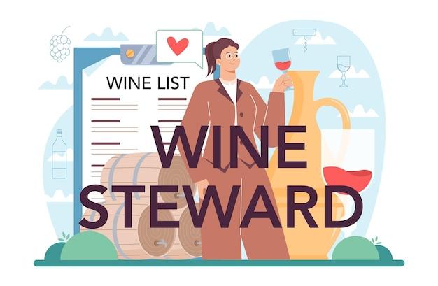 Weinsteward typografischer header-sommelier mit einem vollen glas