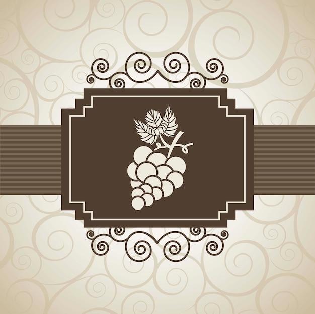 Weintraubetikett über beige hintergrundvektorillustration