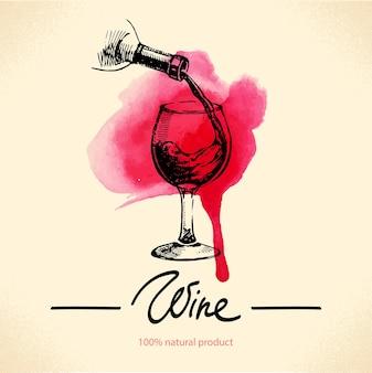 Weinweinlesehintergrund. aquarell handgezeichnete skizze abbildung. menügestaltung