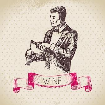 Weinweinlesehintergrund. hand gezeichnete skizzenillustration