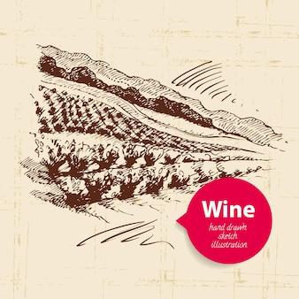 Weinweinlesehintergrund mit fahne. hand gezeichnete skizzenillustration der landschaft