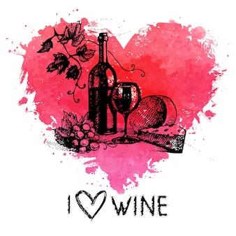 Weinweinlesehintergrund mit fahne. hand gezeichnete skizzenillustration mit spritzaquarellherzen