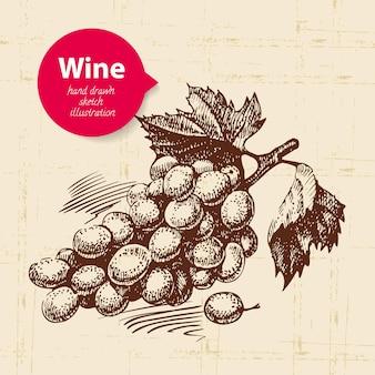 Weinweinlesehintergrund mit fahne. hand gezeichnete skizzenillustration von trauben