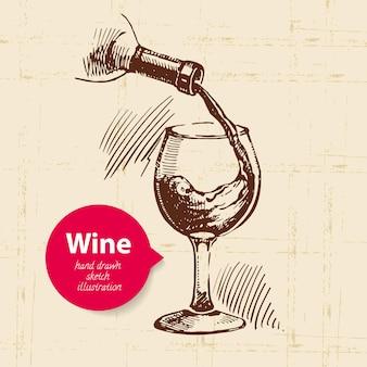 Weinweinlesehintergrund mit fahne. hand gezeichnete skizzenillustration