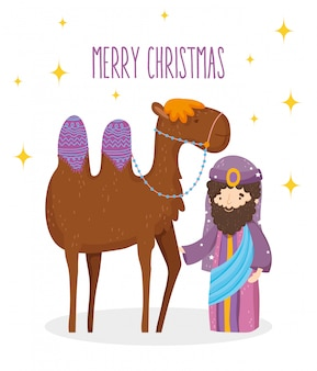 Weise krippe des königs und der kamelkrippe, frohe weihnachten