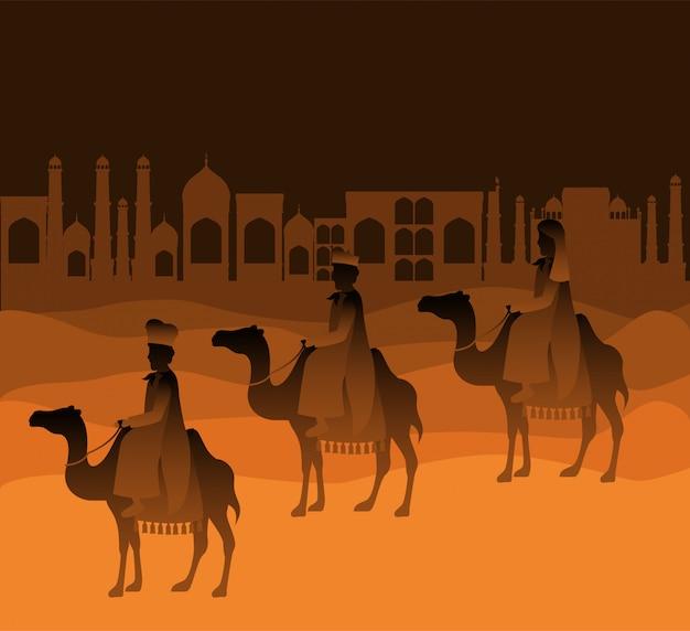 Weise männer, die in die wüstenweihnachtsszene reisen