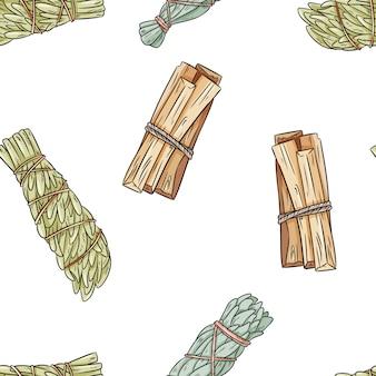 Weiser fleck haftet von hand gezeichnetes boho nahtloses muster. salbei, beifuß und palo santo bündeln beschaffenheitshintergrund
