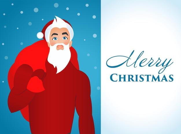Weiß-blaues poster frohe weihnachten mit einem bild eines modischen, modernen und jungen weihnachtsmannes.