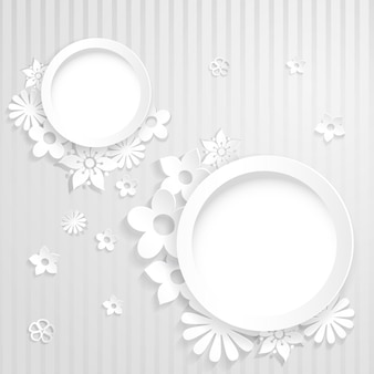 Weiß gestreifter hintergrund mit zwei ringen und aus papier ausgeschnittenen blumen