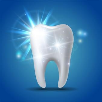 Weiß glänzender zahn, konzeptaufhellung des menschlichen zahns.