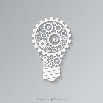 Weiß glühbirne von zahnrädern gemacht