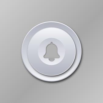 Weiß grau glänzend metallisch technologisch modernes design runde schaltfläche benachrichtigung