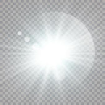 Weiß leuchtende lichtexplosion mit transparentem. vektorillustration für coole effektdekoration mit strahlfunkeln. heller stern. transparenter glanzgradient-glitter, helles aufflackern. blendungstextur