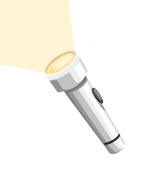 Weiß leuchtende taschenlampe. metalltaschenlampe mit ein-aus-taste. flache illustration lokalisiert auf weißem hintergrund.