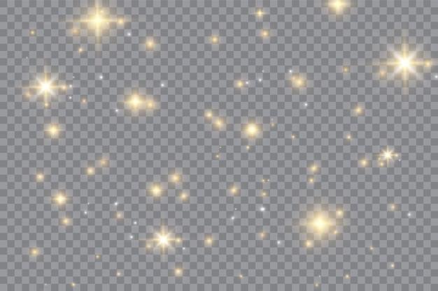 Weiß leuchtender lichteffekt auf transparentem hintergrund isoliert. leuchtendes flackern. magische glitzerstaubpartikel. stern platzte vor funkeln. vektor-illustration