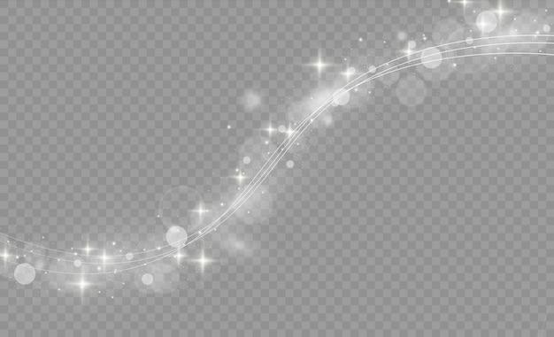 Weiß leuchtender lichtlinien-wirbeleffekt. glühende magische feuerringspur. weiße linien mit lichteffekten lokalisiert auf transparentem hintergrund. glänzende funkelnde wirbelspur. illustration.