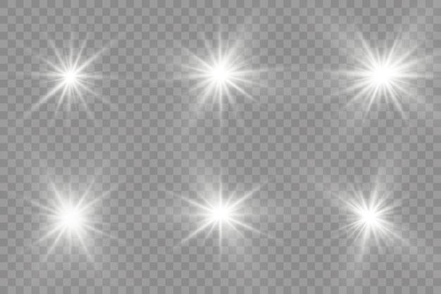 Weiß leuchtendes licht explodiert auf transparent.