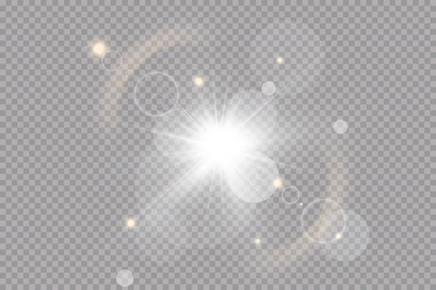 Weiß leuchtendes licht explodiert. mit strahl. transparent strahlende sonne, heller blitz. spezieller linseneffekt.