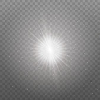 Weiß leuchtendes licht. heller stern, strahlende sonne.