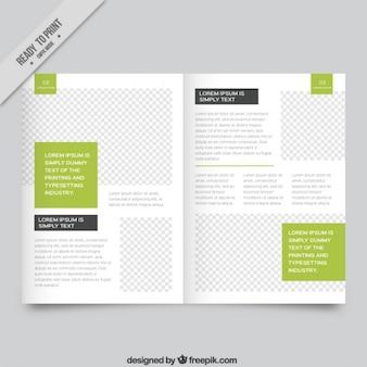 Weiß magazin vorlage mit grünen teilen