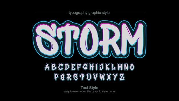 Weiß mit bunter neon stroke graffiti style typografie