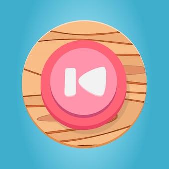Weiß rosa rot aus holz go start button cartoon funy game button interface elements set premium vector