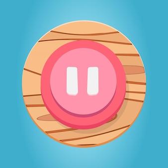 Weiß rosa rot hölzerne pausentaste cartoon funy spielknopf-schnittstellenelemente eingestellt premium-vektor