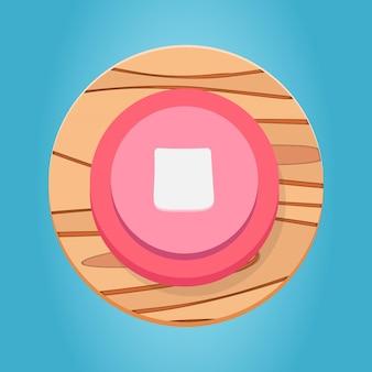 Weiß rosa rot hölzerne stopptaste cartoon funy game button interface-elemente set premium-vektor