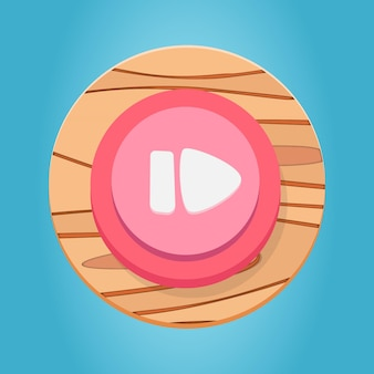 Weiß rosa rot holz pause play button cartoon game button interface elements set premium vector